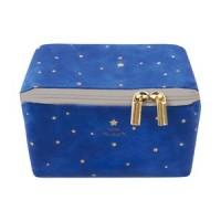 【pacapo】長方形萬用收納化妝包 S尺寸 深藍色 星星圖案